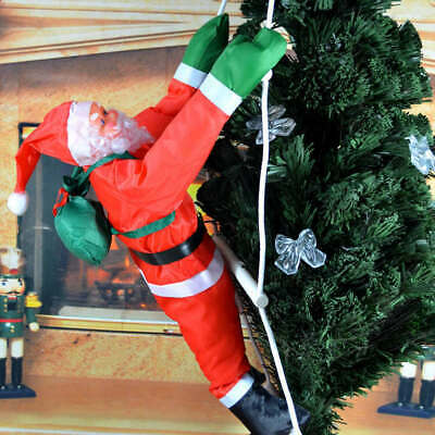 US! Climbing Santa with Rope Ladder Outdoor Christmas Yard Decoration 15.7 inch