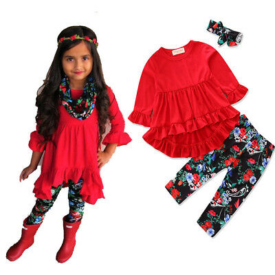 US Stock New Kid Baby Girls T-shirt Tops Dresses Floral Pants Outfit Clothes Set