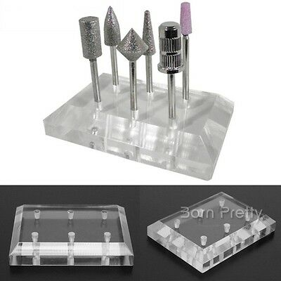 Clear Nail Art Drill Bit Displayer Stand Holder 6 holes Manicure Exhibition DIY
