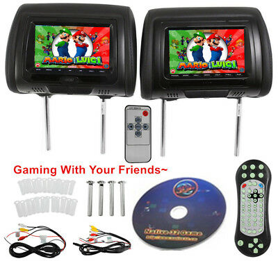 "2X 7"" Black Car Headrest Monitors w/DVD Player/USB/HDMI FM Speakers +Games"