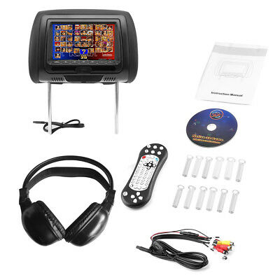 "7"" Black Car Headrest Monitors DVD Player/USB/HDMI FM +Games+Bluetooth earphone"