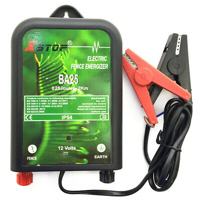 BA25 12V BATTERY POWERED ELECTRIC FENCE ENERGISER 2km CHICKEN COUP ANTI FOX