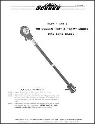 Sunnen GR & GRM Dial Bore Gage Parts Manual