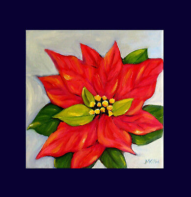 Christmas Poinsettia  Original Flower Oil Painting  Wall  Art Deco Canvas Signed