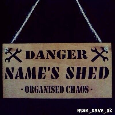 Personalised Custom Wooden Sign, Novelty Gift, Funny, Shed, Workshop , Man Cave