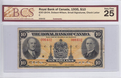 1935 Royal Bank of Canada $ 10 Dollar Bank Note – BCS Graded V F 25