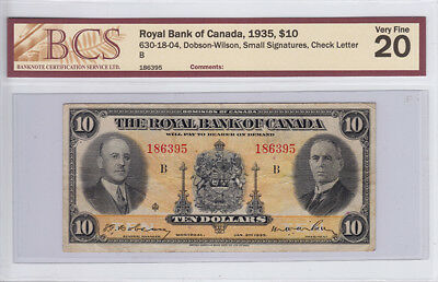 1935 Royal Bank of Canada $ 10 Dollar Bank Note – BCS Graded V F 20
