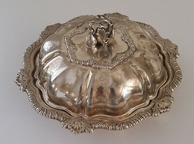 VTG Silver on Copper Covered Butter Dish Fruit Finial Small Ornate Bowl Lid