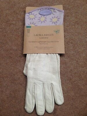 Laura Ashley Leather Sweet Lavender Garden Gloves Gauntlets Slight Seconds M