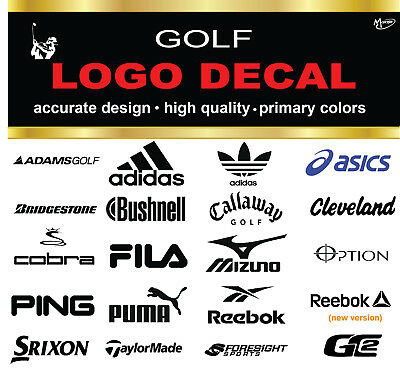 Adidas Bushnell Callaway Tylormade Asics Ping FILA...Golf Logo Stickers Decals