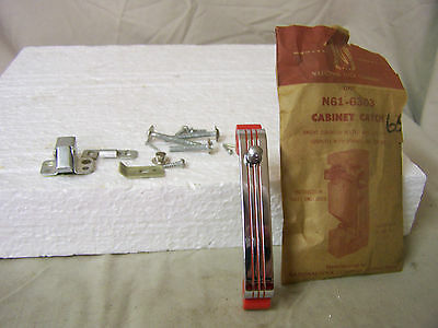 Vintage Cabinet Catch/Latch Chrome w/Red Lines National Lock Company #N61-6303