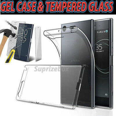 Ultra Slim Clear Gel Skin Case Cover & Tempered Glass for Sony Xperia XZ1 XZ XA2