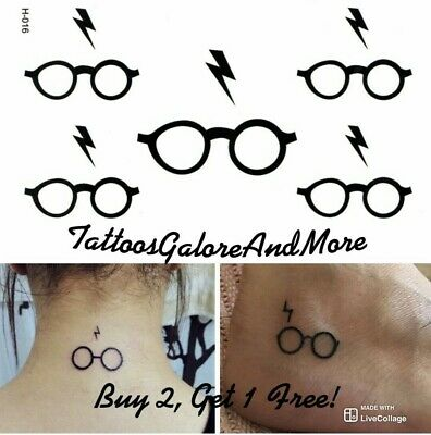Mini Harry Potter Glasses & Lightning Bolt Temporary Tattoo, Halloween Costume