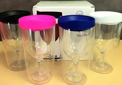 4-Pack Wine Tumblers Sippy Drink Cup Pink,Blue,White & Black -BPA-free-10 oz