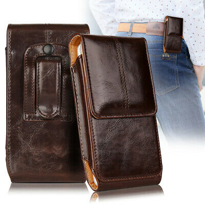 For Apple Iphone X - Vertical Leather Pouch Holder Belt Loop Holster Case