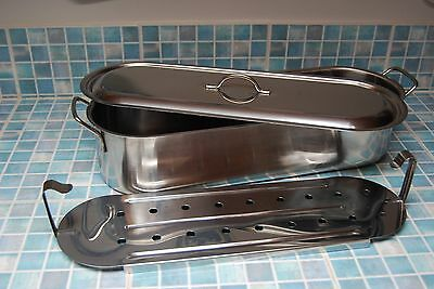 Fish Kettle / Poissonnier. Large,heavy. Stainless Steel.3 Piece,removable trivet