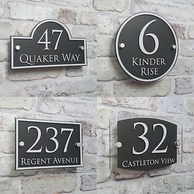 Modern House Address Plaque Door Number Signs Name Plates Glass Effect Acrylic