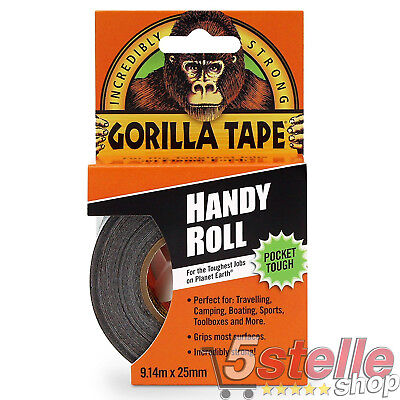 GORILLA TAPE HANDY ROLL NASTRO ADESIVO POCKET 25mm x 9,14 mt SUPER RESISTENTE