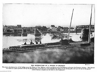 "1915 Print WWI Meuse bridge destruction Vise Belgium world war I 10.5""x7.75"""