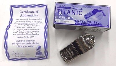 NEW ACME Titanic Mates whistle AC58 Solid Brass w/ COA Included Made in England