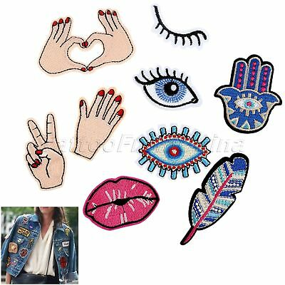 Embroidered Eyes LOVE Sew Iron On Patch Badges Bags Hat Jeans Applique 9Pcs