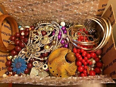 VINTAGE NOW ESTATE JUNK DRAWER JEWELRY LOT Wear Repair Gold Silver Untested LBS