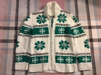 Vintage Hand Knit Cowichan Shawl Collar Sweater Sm-Med!