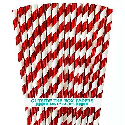 Foil Red Stripe Christmas Candy Cane Paper Drinking Straws 7.75 Inches 100 Pack
