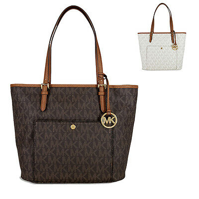 Michael Kors Jet Set Large Top Zip Snap Pocket Tote - Choose color