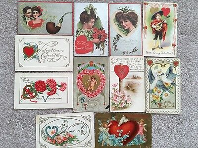 Lot of 13 Vintage VALENTINE'S POSTCARDS embossed (7 new) Cupid, hearts, flowers