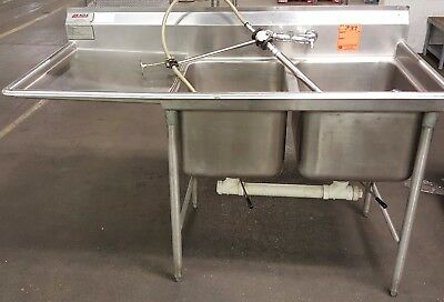 Eagle Stainless Steel 2 Compartment Commercial Sink with Left Side Drainboard