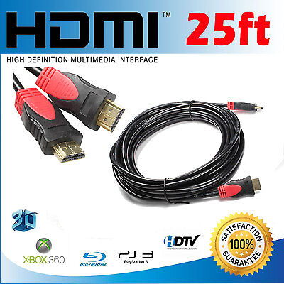 Newest Gold 25ft HDMI v1.4 3D DVD Full HD Cable HDTV Blu-Ray High Speed+Ethernet