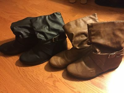 Lot Of 2 Women's Brown And Black Military Combat Faux Leather Boots S(6/7)