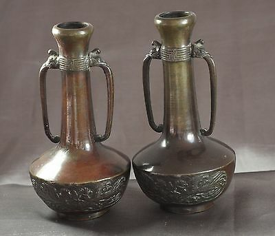 Early 20th Century Chinese Long Neck Bronze Vases