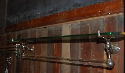 Large Glass Shelf Towel Bar Nickel Hardware Bathroom Antique
