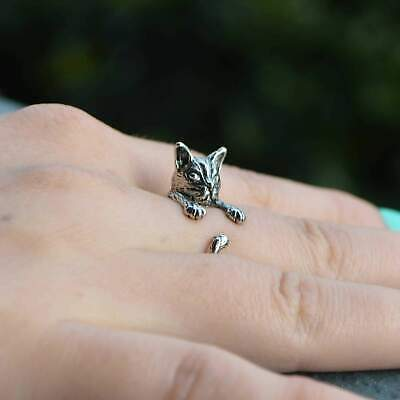 Vintage Style Cat-Figured Ring - Silver and Bronze Plated