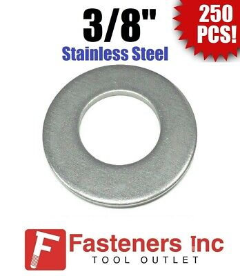 """0.079/"""" Thick 18-8 Stainless Steel USS Flat Washer 3//8 Qty 100 pcs"""