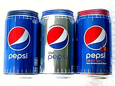 2017 FULL 12 oz HAWAII USA NFL PEPSI DIET WILD CHERRY - LOT of 3 Ribbed Can  NEW