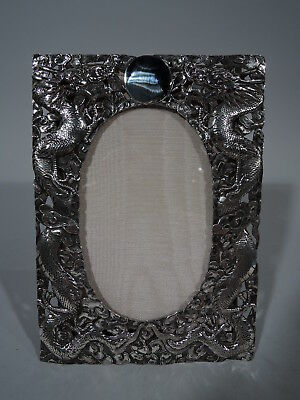 Export Frame - Picture Photo - Antique Asian China Trade Dragon - Chinese Silver