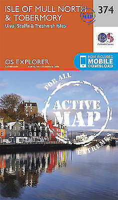 Isle of Mull North and Tobermory EXPLORER ACTIVE 374 MAP - LAMINATED - NEW