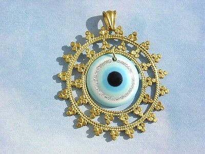 Gold Plated Turquoise Evil Eye Roman Ancient Greek Design Pendant Necklace
