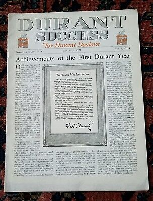 Antq DURANT SUCCESS FOR DEALERS AUGUST 1922 Orig Factory Brochure Magazine 32pgs
