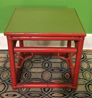Side Table Chippendale Red Bamboo Style Fretwork Chinese Design Thomasville