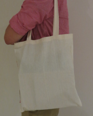 Plain Calico Bags | Long Double Handle I  Natural I Reusable Multi - Purpose Bag