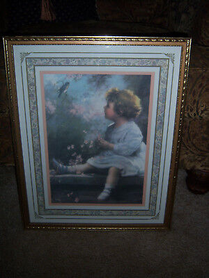 VTG HTF ADORABLE CHILD BIRD Can U Talk  Picture Wood Frame Homco Home Interiors