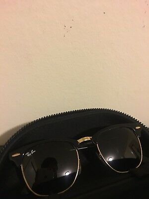 113a4a2605e4 ... spain authentic ray ban clubmaster sunglasses black gold frame with  green lens 51mm 531d0 8cb06