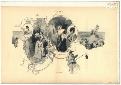 Rare Antique Original Vintage 1893 Life Halloween Johnson Illustration Art Print