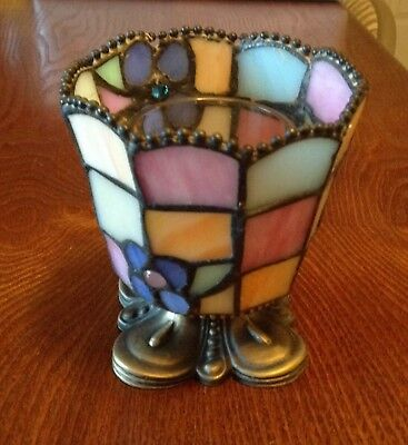 Vintage Stained Glass Votive Candle Holder
