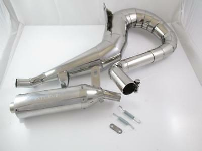 "Exhaust "" SCOOTRS "" Right Hand Stainless Steel Polished VESPA PX80,PX125,PX150"