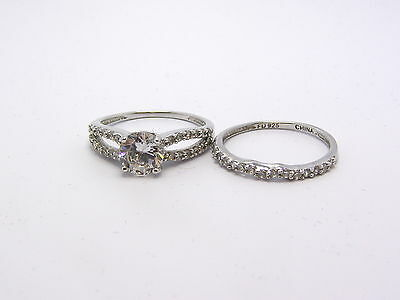 Lovely Two Piece Set, Round Center w/ Accents CZ's Sterling Silver Ring New HSN
